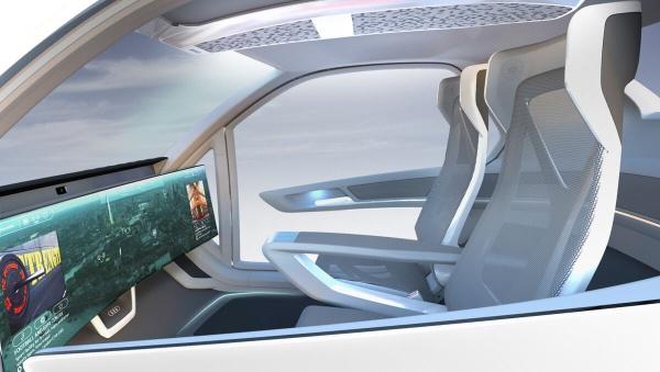 Pop.Up Next: Autonomes Fahr- und Flugtaxi: Im Innenraum wartet ein 49-Zoll Bildschirm auf die Nutzer. (Quelle: audi-mediacenter.com   Italdesign) (Bild 5)